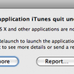 iTunes crash window